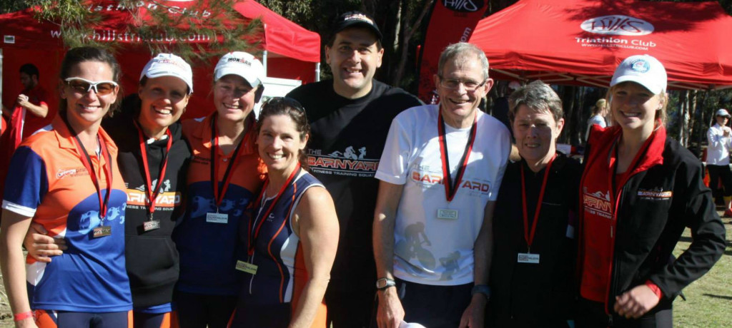 WINNERS ARE GRINNERS: Medal winners from the NSW Duathlon Championships (from left) Alison Dermody, Estelle Dean, Jessica Richards, Julie Middleton, Dan Benton, Brian Sharp, Judy Tarleton and Kinisha Roweth.
