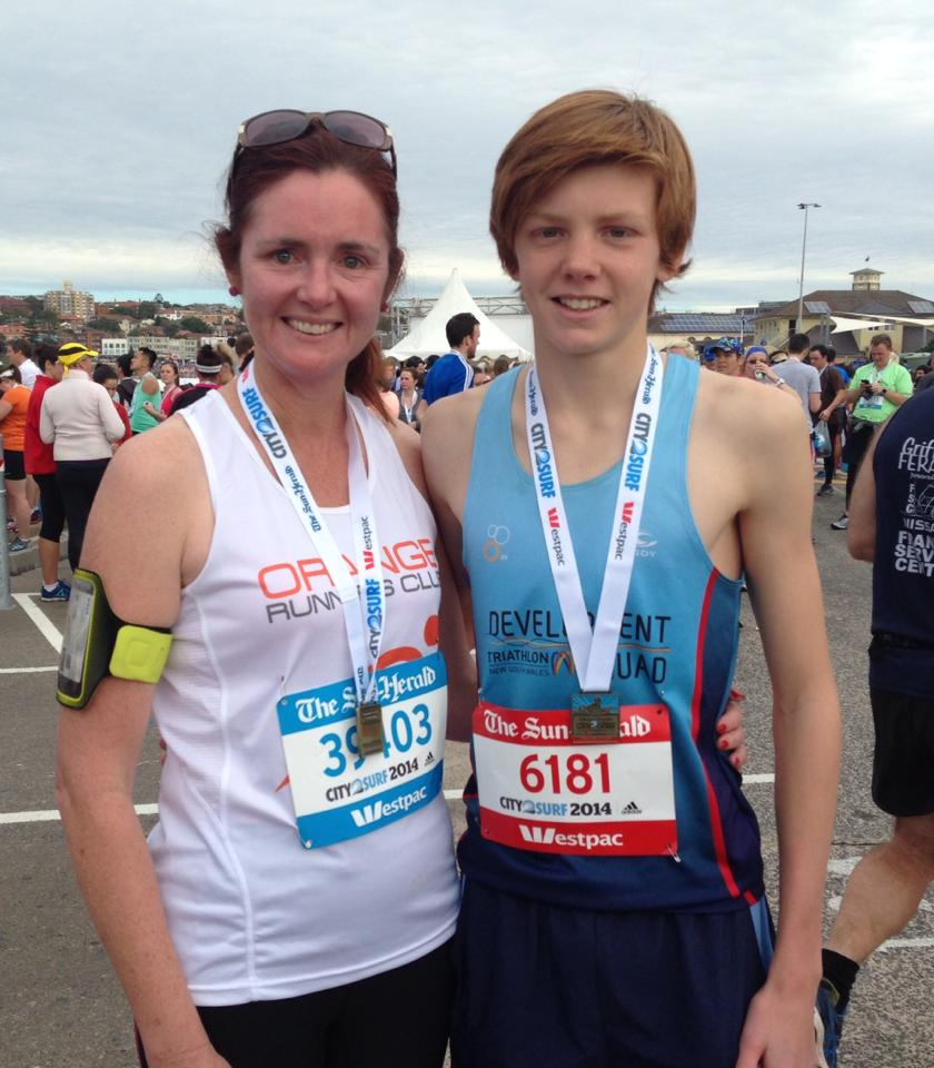 GREAT RUN: Mother and son, Michelle and Connor Whiteley, still had enough energy to smile for a photo after finishing Sunday's City2Surf.