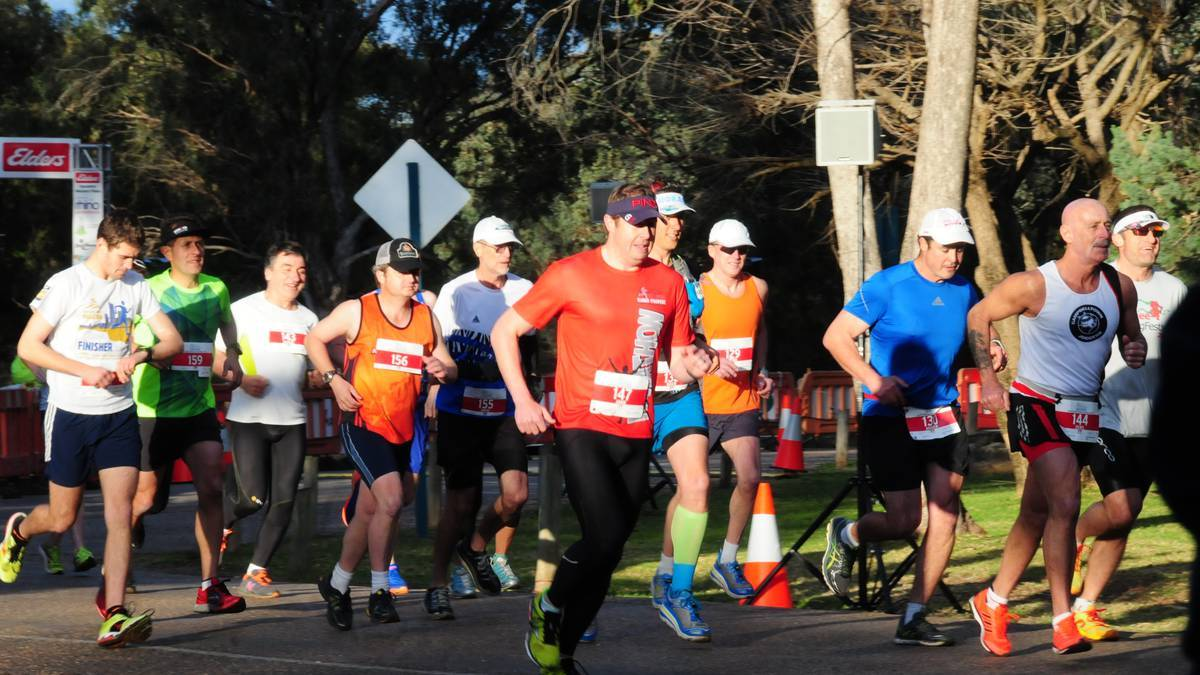 MARATHON MAN: Orange's Stephen Blackwood (fourth from the left) takes off in the Dubbo Stampede's marathon last Sunday.    Photo: DAILY LIBERAL
