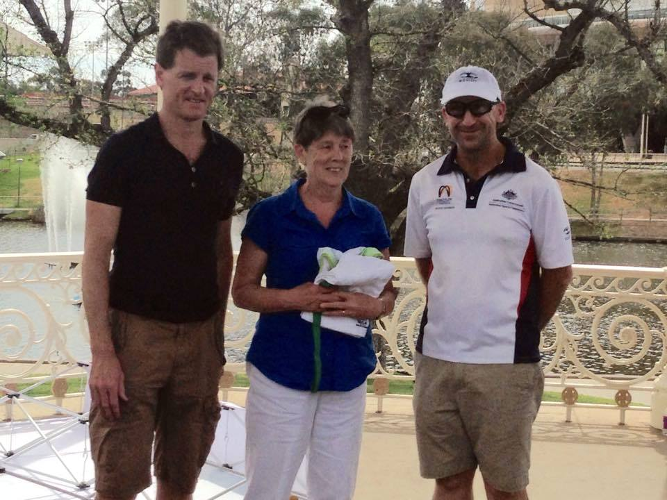 CHAMPION: Judy Tarleton (centre) at the presentation after winning her age category at the Australian Duathlon Championship in Adelaide last Sunday.