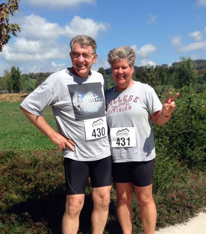GRINNERS: Wednesday's winner was Sue Betts, pictured with husband John. Sue has been a regular at ORC this year, while also tackling some of the local events like the recent Carcoar Cup to Orange's own Running Festival and the Volcanic Challenge.