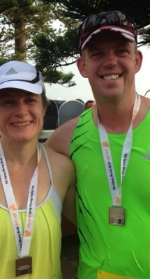 Rebecca Lincoln pictured with husband Leon after the Sun Run at Manly this year.