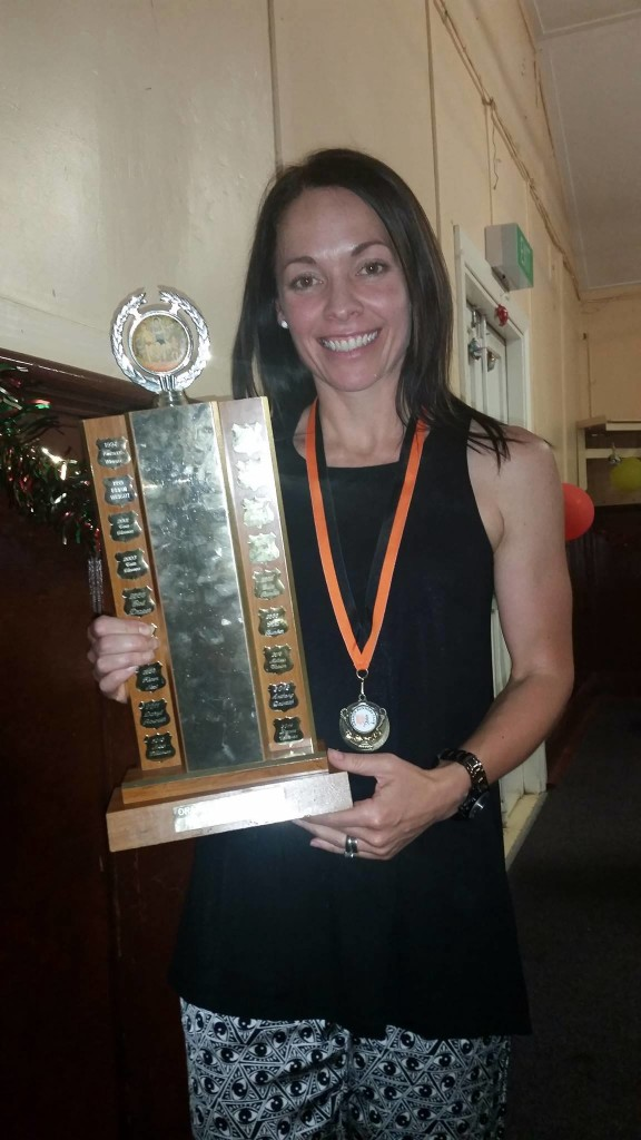 TOP BILLING: Runner Of the Year Leanne Corcoran shows off her trophy.