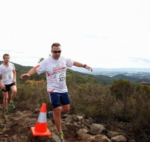 Wednesday nights overall winner - Anthony Daintith  at the peak of Mt Canobolas in this years Volcanic Challenge