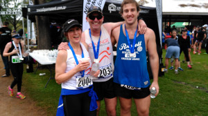 Donna Read, Gareth Thomas and Nicholas Thomas after the Mudgee marathon.